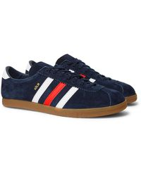 adidas Originals Köln Leather-trimmed Suede Trainers - Blue