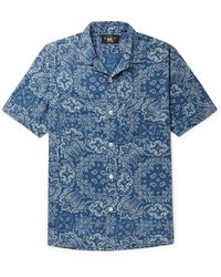 RRL Camp-collar Paisley-print Lyocell Shirt - Blue