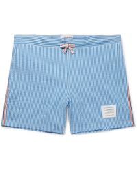 Thom Browne - Short-length Striped Seersucker Swim Shorts - Lyst
