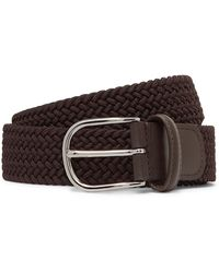 Andersons 3.5cm Brown Leather-trimmed Woven Elastic Belt
