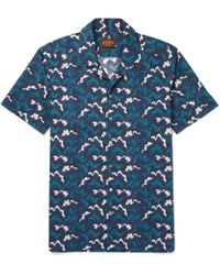 Tod's Camp-collar Printed Cotton-voile Shirt - Blue