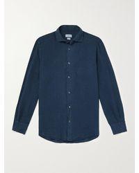 Incotex Fellini Slim-fit Cutaway-collar Linen Shirt - Blue