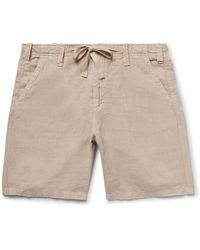 Hartford Slim-fit Linen-chambray Drawstring Shorts - Natural