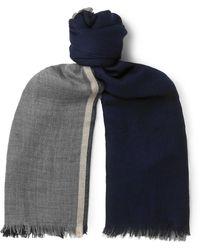 Brunello Cucinelli Fringed Striped Cashmere And Silk-blend Scarf - Blue