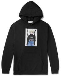 Flagstuff Printed Fleece-back Cotton-blend Jersey Hoodie - Black