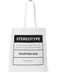 Maison Margiela Printed Cotton-twill Tote Bag - White