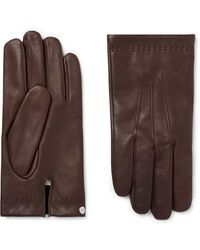 Mulberry Cashmere-lined Leather Gloves - Brown