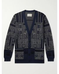 Etro Fringed Printed Wool, Linen And Silk-blend Cardigan - Blue