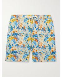 Hartford Tank Slim-fit Printed Cotton Drawstring Shorts - Blue