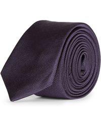 Mr Start Skinny Classic Silk Tie - Purple