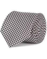 Mr Start Fine Houndstooth Silk Tie - Black