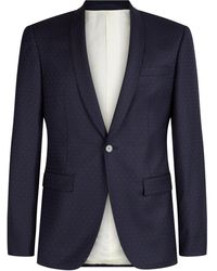 Mr Start Rivington Shawl Collar Pin Dot Suit - Blue