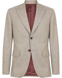 Mr Start Oatmeal Flannel Peak Lapel Suit - Grey
