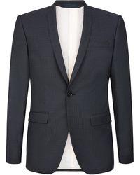 Mr Start Pin Dot Shawl Collar Evening Suit - Blue