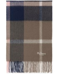Mulberry Small Check Lambswool Scarf In Sorbet Pink Lambswool - Multicolor