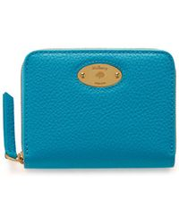 Mulberry - Plaque Small Zip Around Purse In Azure Small Classic Grain - Lyst