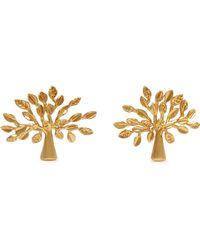 Mulberry Tree Earrings In Brass Metal - Metallic