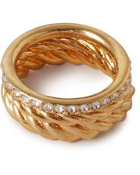 Mulberry Twist Ring In Gold And Crystal Brass And Glass - Metallic