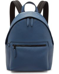 Mulberry Zipped Backpack In Pale Navy Heavy Grain - Blue