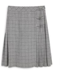 Mulberry Martina Skirt In White Houndstooth Light Wool Check