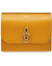 Mulberry Amberley Medium Wallet In Deep Amber Small Classic Grain - Orange