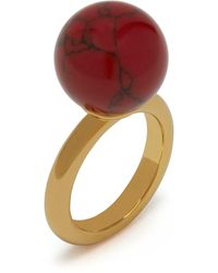 Mulberry Grace Coloured Ring In Gold And Crimson Brass And Resin - Metallic