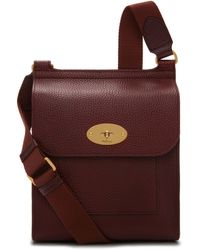 Mulberry Small Antony In Oxblood Natural Grain Leather - Purple