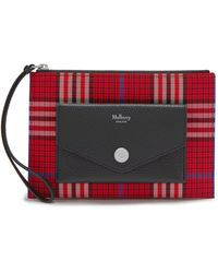 Mulberry Pouch With Wristlet In Scarlet Tartan Check - Red