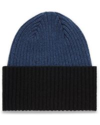 Mulberry Knitted Beanie In Bright Navy Lambswool - Blue