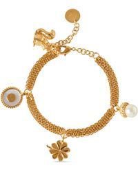 Mulberry Secret Garden Charm Bracelet In Multicolour Glass And Brass - Metallic