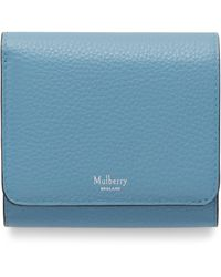 Mulberry Small Continental French Purse In Pale Slate Small Classic Grain - Blue