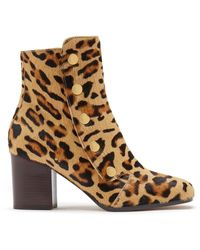 Mulberry Marylebone Bootie In Leopard Print Haircalf - Brown