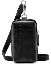 Mulberry Zipped Pouch In Black Matte Croc