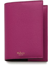 Mulberry - Passport Cover In Deep Pink Cross Grain Leather - Lyst