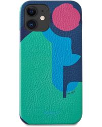 Mulberry Iphone 12 Cover In Multicolor Printed Leather - Blue