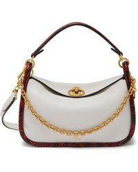 Mulberry - Small Leighton In White And Coral Red Silky Calf And Python - Lyst