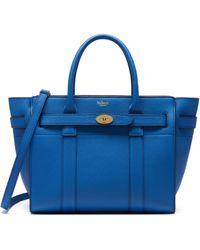 Mulberry Small Zipped Bayswater In Porcelain Blue Small Classic Grain