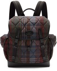 Mulberry Heritage Backpack In Multicolour Quilted Heritage Check - Black