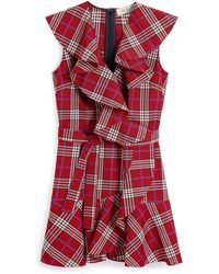 Mulberry Kimberly Dress In Scarlet Tartan Check - Red