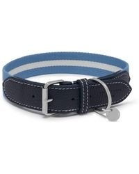Mulberry - 3cm Graduate Collar In Ink Blue Leather And Striped Webbing - Lyst