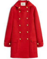Mulberry Elodie Coat In Scarlet Winter Twill - Red
