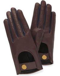 Mulberry Biker Gloves In Burgundy Smooth Nappa - Brown