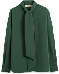Mulberry Ottilie Blouse In Green Fluid Crepe