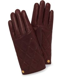 Mulberry Quilted Nappa Gloves In Burgundy Nappa Leather - Multicolour