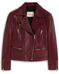 Mulberry Bethany Jacket In Burgundy Nappa Leather - Purple