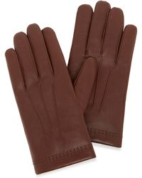 Mulberry Men's Soft Nappa Gloves In Brown Nappa Leather
