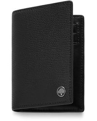 Mulberry Card Wallet With Tree Plaque In Black Cross Grain Leather