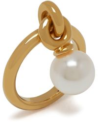 Mulberry Grace Small Ring In Gold And Mother Of Pearl Brass And Resin - Metallic