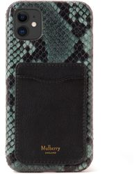 Mulberry Iphone 11 Case With Credit Card Slip In Green Python Print Leather And Silky Calf