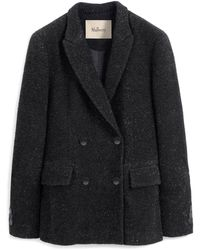 Mulberry Emili Jacket In Black Lurex Tweed